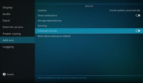 How To Enable Unknown Sources in KODI 17 Krypton step 5