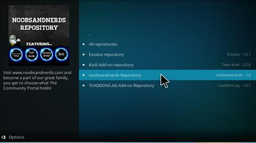 hHow to Install Noobs and Nerds Repository Kodi 17 Krypton step 15