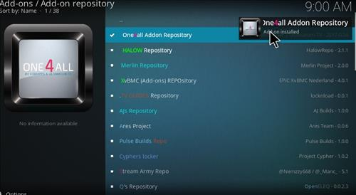 How to Install One4all Add-on Repository Kodi 17 Krypton step 20
