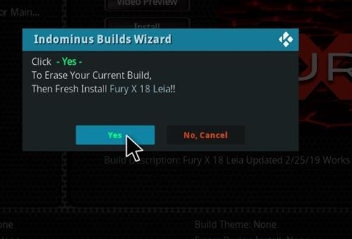 How to Install Fury- X 18 Kodi Build Leia step 18