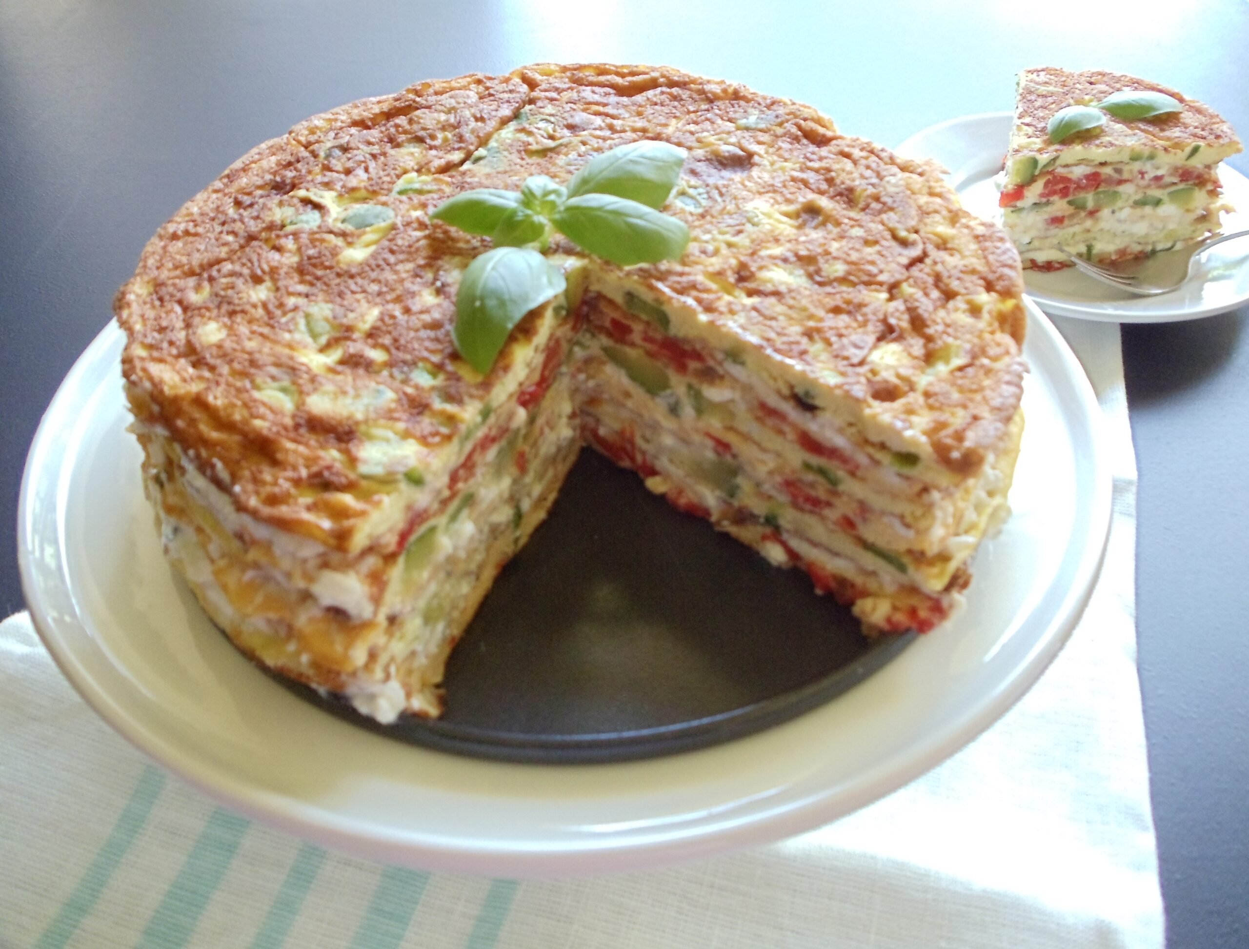 Omelet cake with vegetable