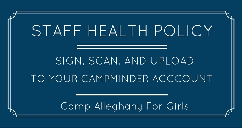 Camp Alleghany for Girls Staff Health Policy