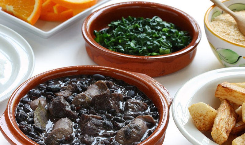 Feijoada, black beans and meat stew, Brazilian cuisine