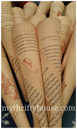 Rolled pages for vintage book page wreath
