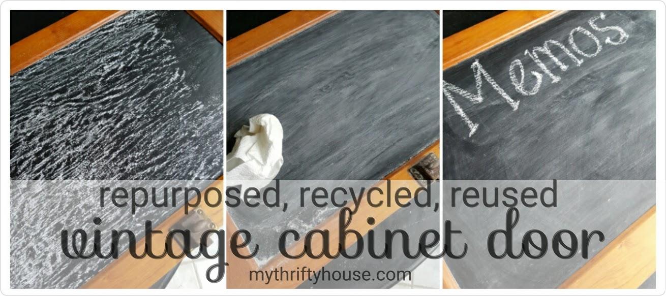 vintage cabinet door chalkboard seasoning