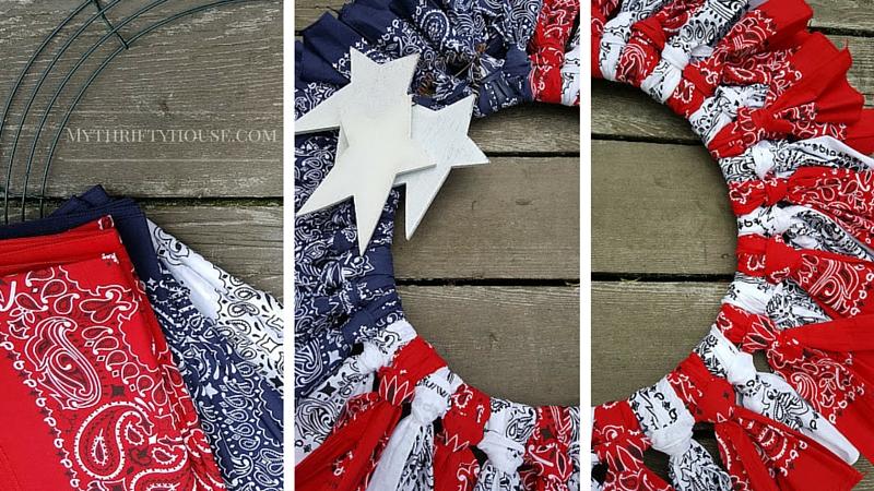 Putting together a Patriotic Bandana Wreath