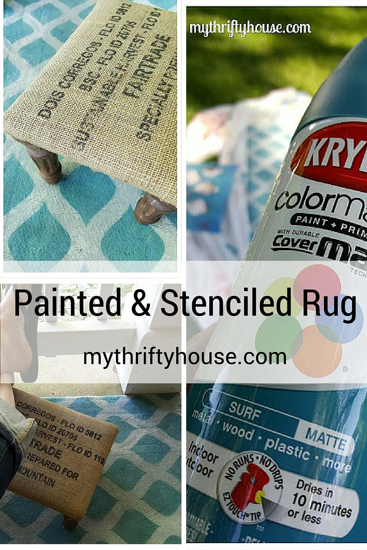 How to make your own spray painted and stenciled rug using Krylon spray paint