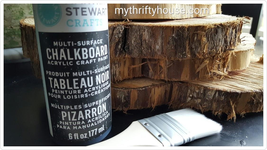 rustic wood slice chalkboard supplies