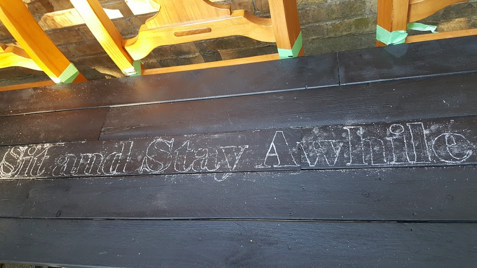 Completed chair bench stencil transfer with chalk and a pencil.