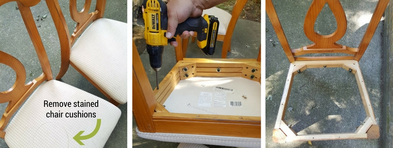 Prepping chairs and removing the stained cushions for the chair bench.