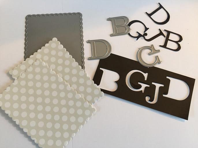 monogramed note cards done by Jeneren14 on Instagram, die cut monogram