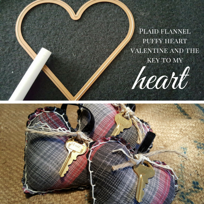 These plaid flannel puffy heart Valentines were made from my son's favorite flannel shirt. They are being given to his 3 sisters for Valentine's Day.