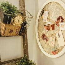 Rustic ladder with vintage wire baskets and memo board