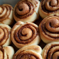 Golden brown baked Princess Leia Cinnamon Buns