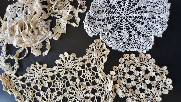 doily and lace for bohemian dream catcher