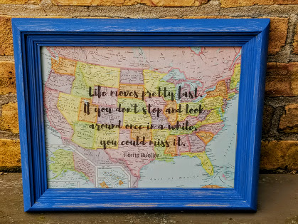 Ferris Bueller Quote and Vintage Map letter