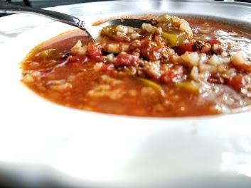 comfort food Whole30 stuffed green pepper soup