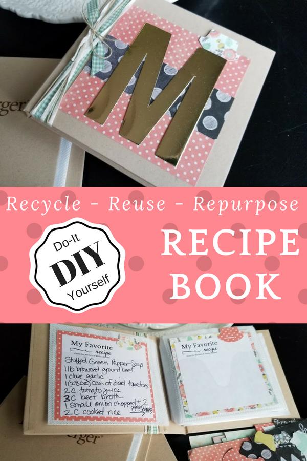 DIY Recipe Book made from repurposed book