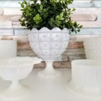 displaying milk glass collection
