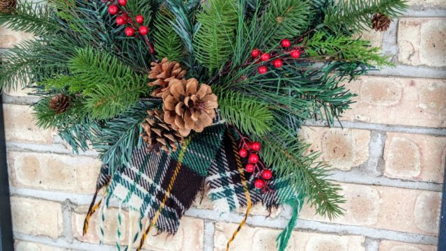 Embelishing an upcycled wool scarf wreath