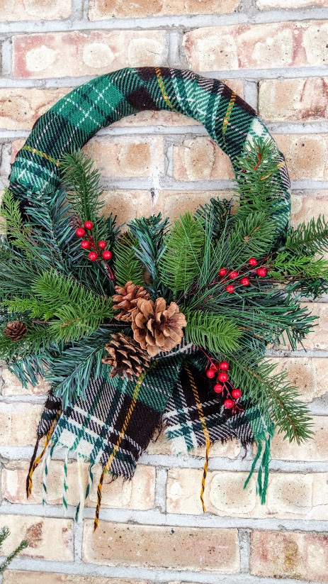 upcycled wool scarf wreath for the front porch