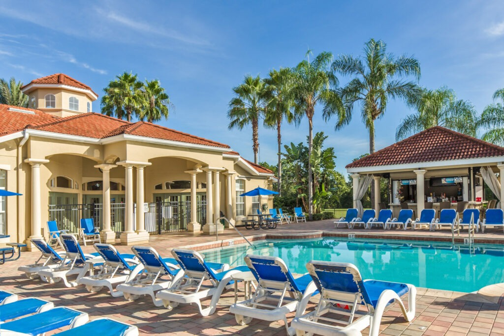 Clubhouse heated pool at Emerald Island Resort