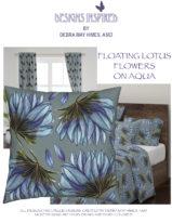 FLOATING LOTUS FLOWERS ON AQUA