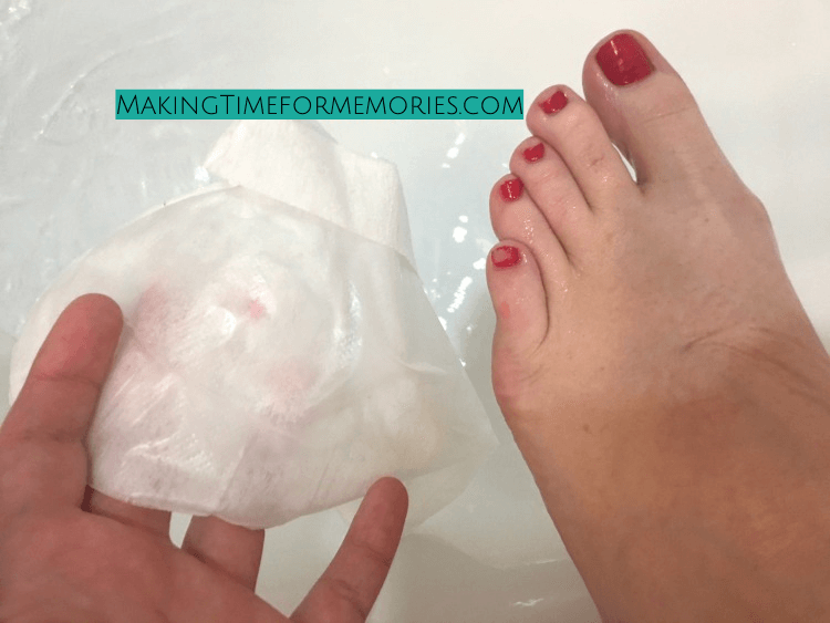 foot right after taking foot mask off