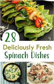 July 16th is National Fresh Spinach Day and I have the perfect roundup of 28 deliciously fresh spinach recipes! #NationalFreshSpinachDay #spinach #recipes