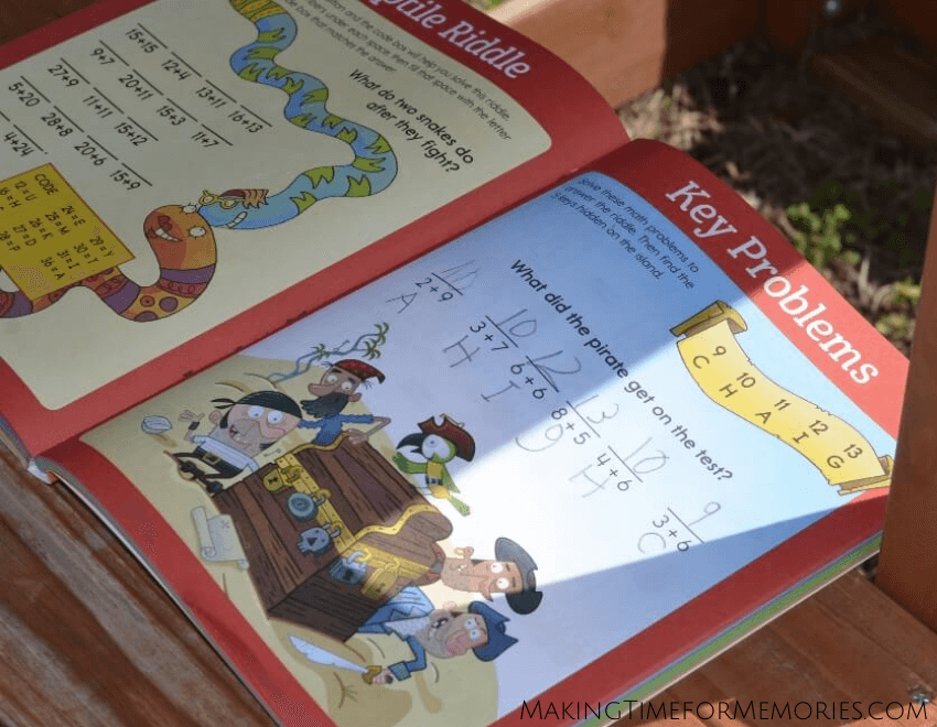 completed math page from a Highlights 1st grade learning book