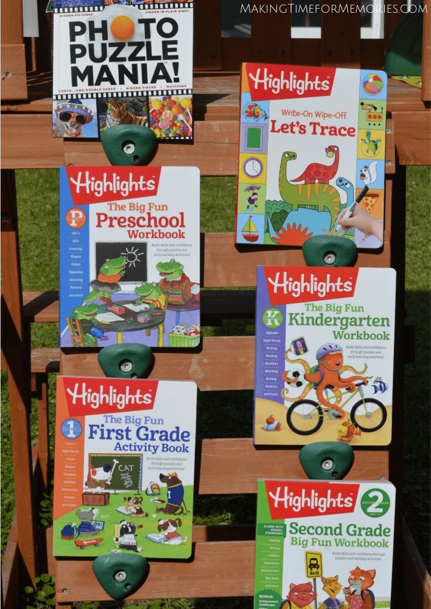 display of 6 Highlights learning books