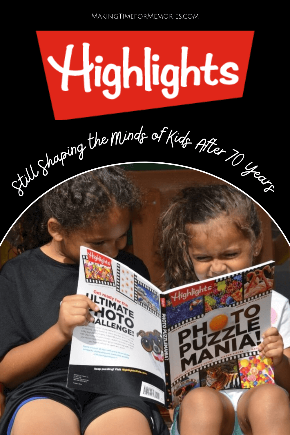 kids looking at a Highlights Photo Puzzle Mania book