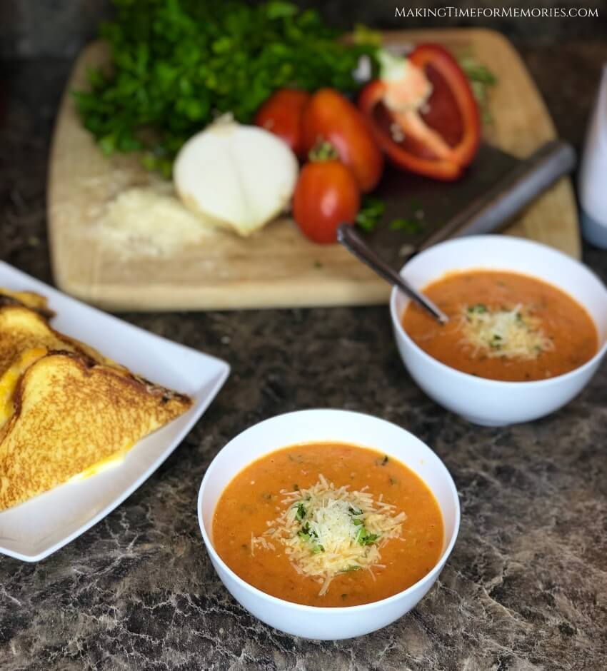 This Homemade Tomato Soup is the only recipe that will take you from dipping your grilled cheese, to saucing your favorite pasta dishes! #homemade #tomatosoup #gardentomatoes #tomatosauce #recipe