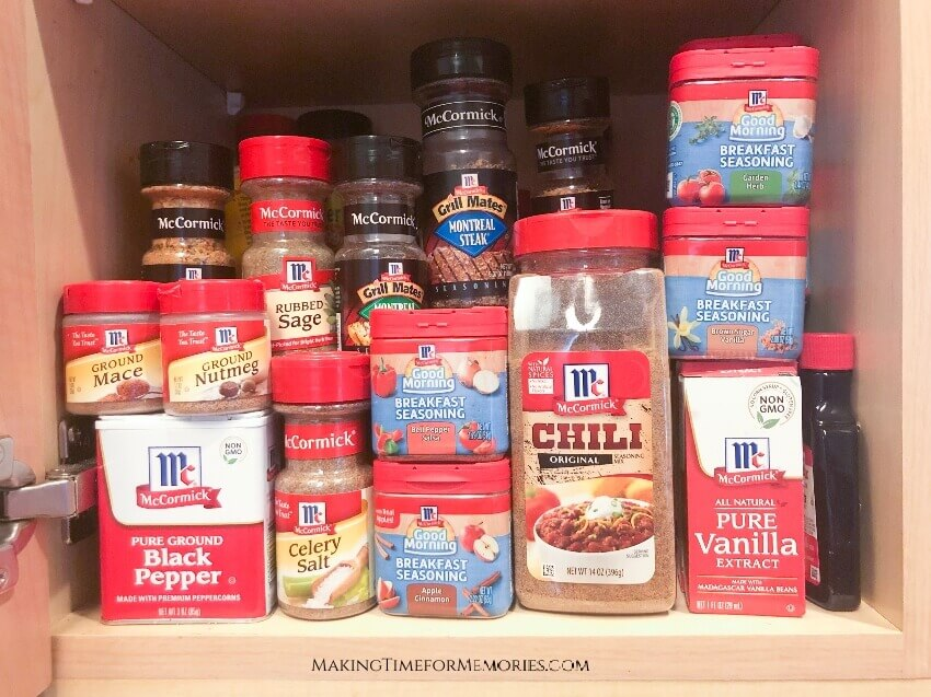 home cabinet filled with various McCormick® spices