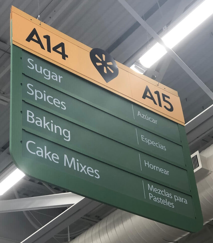 Walmart aisle sign for spices