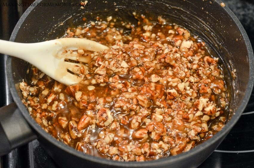 finished mini pecan pie filling in a pot