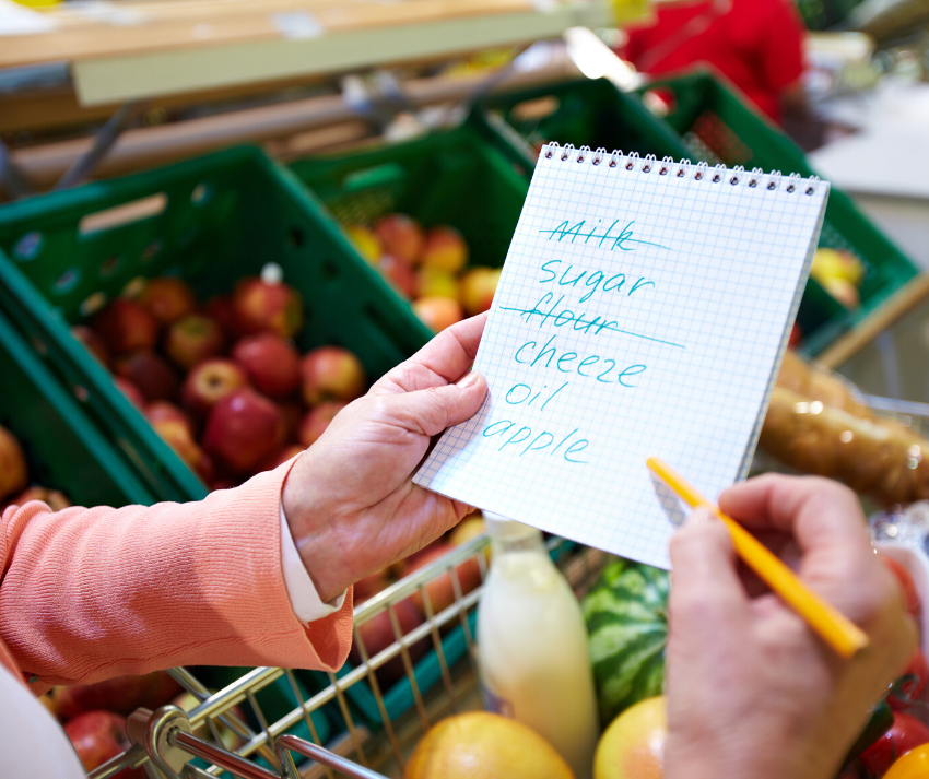 woman holding grocery list with items marked off