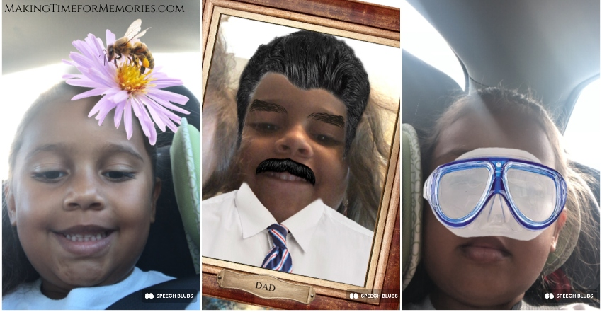 photos of little girl using funny photo filters