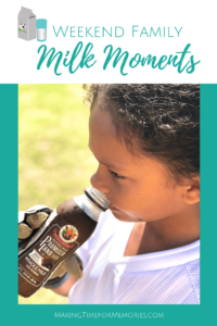 Weekend Family Milk Moments title image featuring a young boy in white soccer uniform and wearing goalie gloves, drinking chocolate whole milk on a soccer field