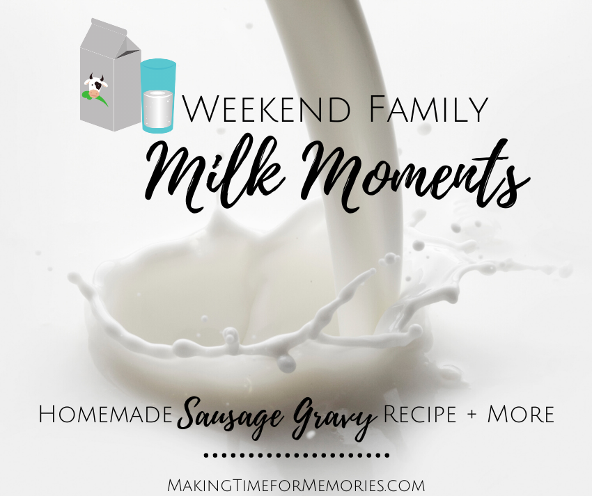 Weekend Family Milk Moments feature title image with a background of white milk being poured and splashing