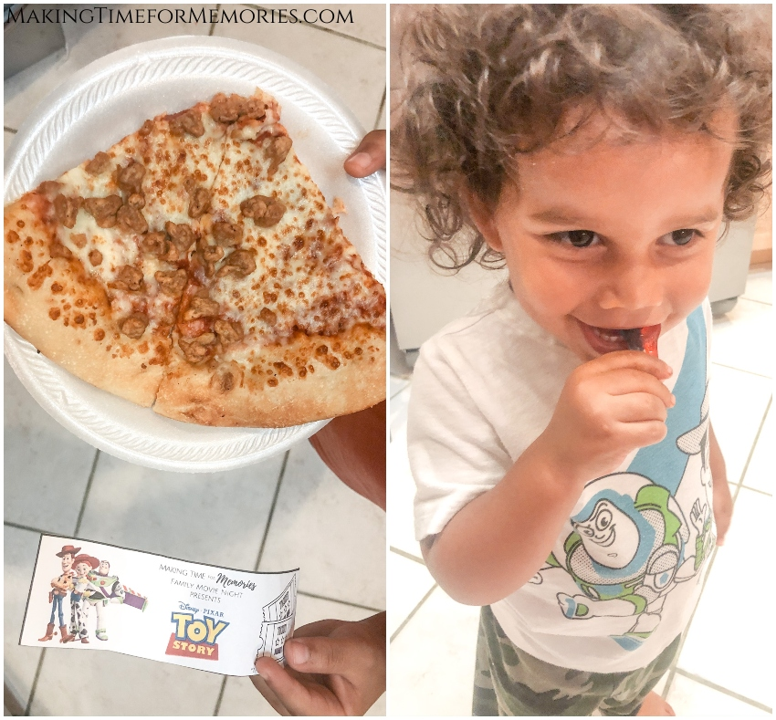 collage with 2 images - on the left is a kid exchanging his movie ticket for 2 slices of pizza, on the right is a toddler chomping on gummy snakes