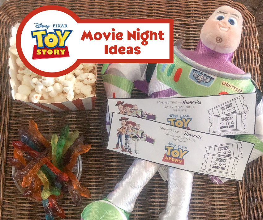Toy Story Movie Night Ideas - feature image featuring Buzz Lightyear toy, printable Toy Story movie tickets, gummy snakes and popcorn