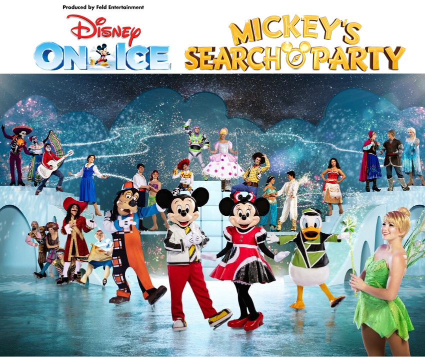 Image showing all Disney On Ice Mickey's Search Party characters - Mickey, Minnie, Goofy, Donald, Tinker Bell, Captain Hook, Frozen, Toy Story, Coco, Aladdin, The Little Mermaid, Belle, Moana