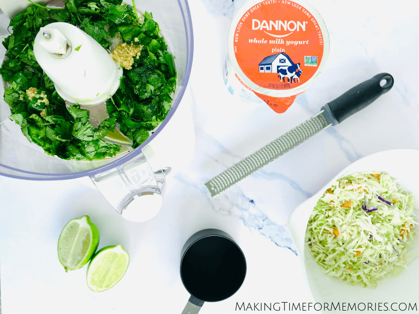 Don't let that quart of Dannon yogurt in your fridge go to waste. Incorporate it into these Shrimp Tacos with Cilantro Lime Slaw!
