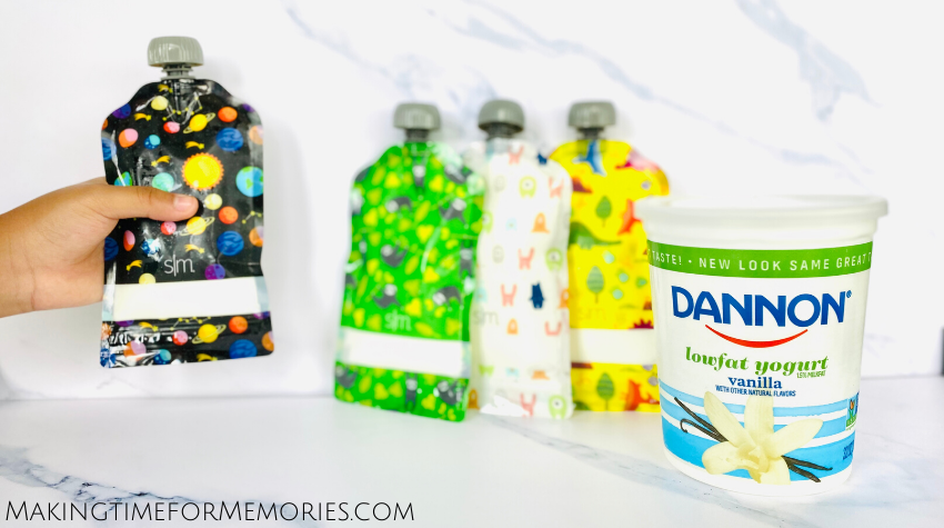 Dannon Low Fat Vanilla Yogurt quarts are great when you have reusable yogurt pouches at home!