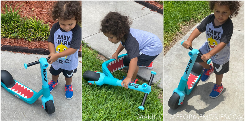 toddler boy trying to figure out the Razor Wild Ones Junior Kick Scooter