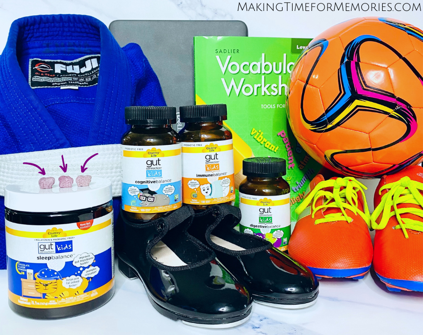 Gut Connection Kids by Country Life - featured with items from various family activities (Judo, dance, soccer, school)