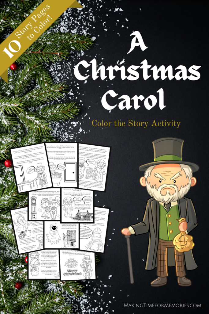 """A Christmas Carol"" Color the Story Activity - 10 printable pages to color"