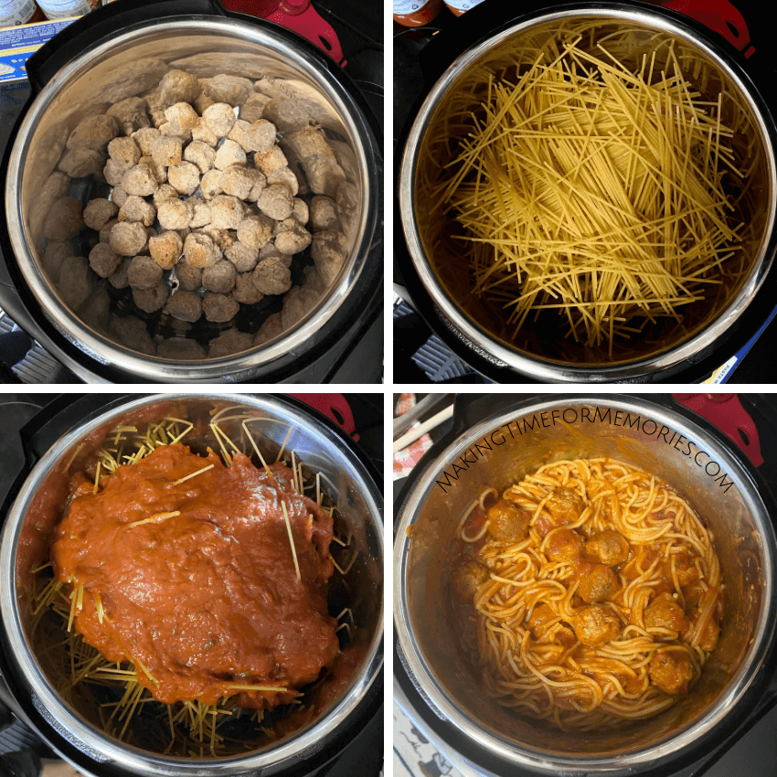 visual steps for Instant Pot spaghetti and meatballs