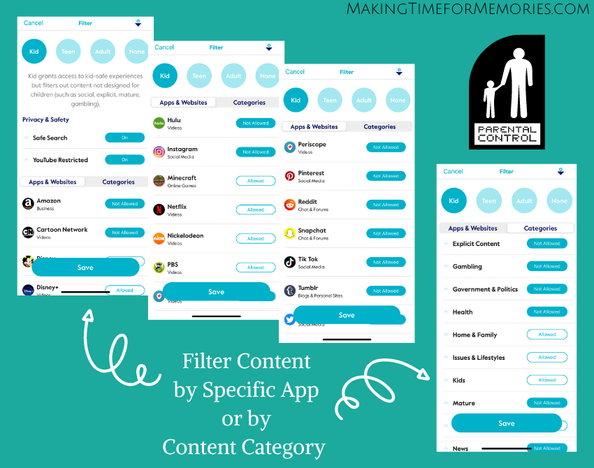 Screenshots of Filtering Content with the Circle Parental Control App
